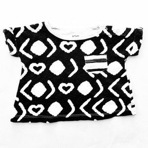Black White Hearts and Stripes Pattern T-Shirt